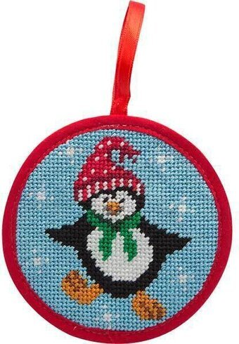 Dancing Penguin Stitch-Ups Round Ornament