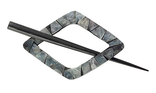 Black Shell diamond shawl pin