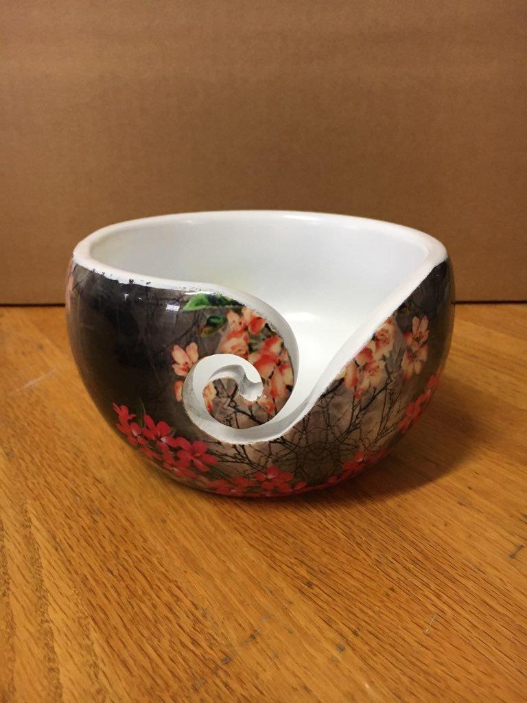 Yarn Bowl Pine with Enamel coated print of Flowers