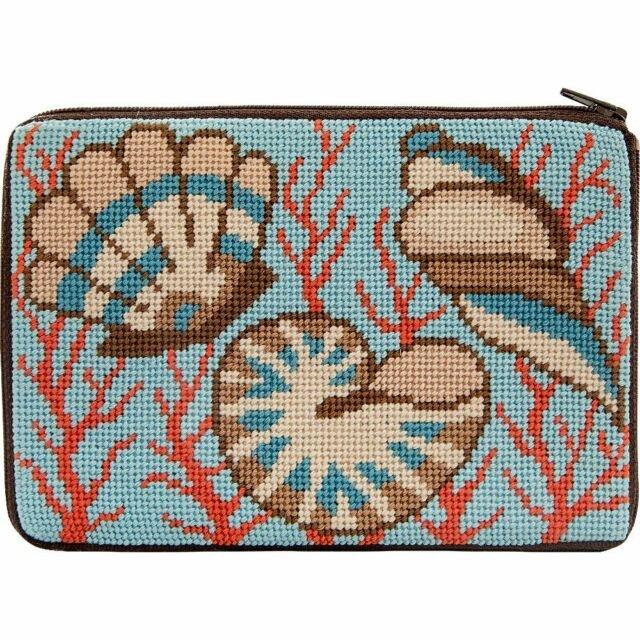 Shells & Coral Stitch & Zip Purse/Cosmetic Case