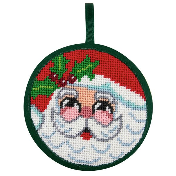 Santa Face Stitch-Ups Round Ornament