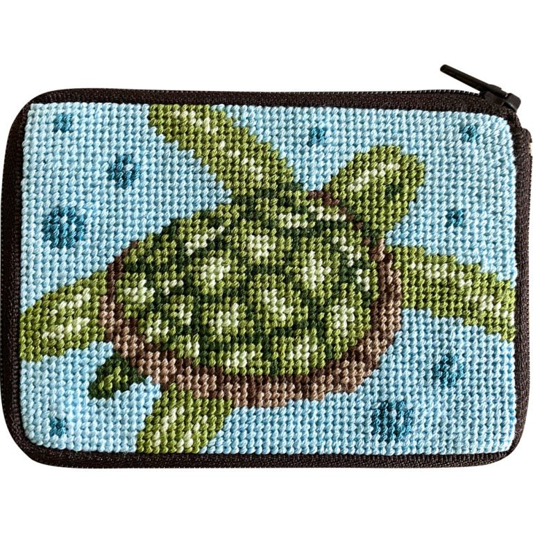Sea Turtle Stitch & Zip Coin Case