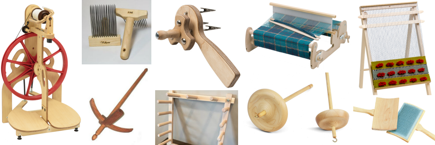 A collection of available tools to rent; spinning wheel, looms, fiber processing tools