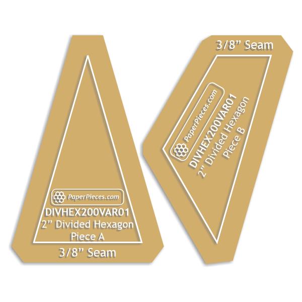 2 Divided Hexagon Variation 2 Acrylic Template