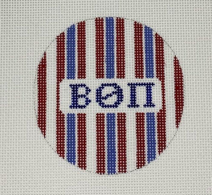 3 round w/stripes-Beta Theta Pi