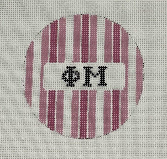 3 round w/stripes-Phi Mu