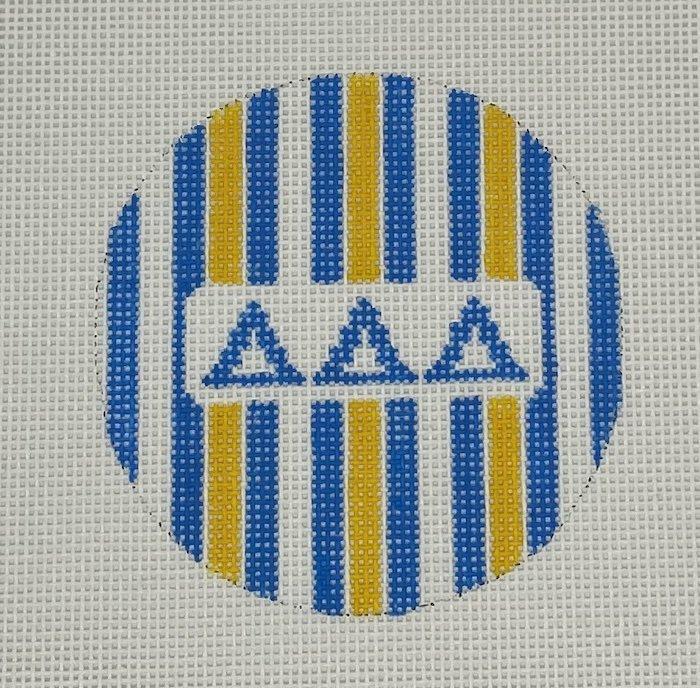 3 round w/stripes-Tri Delta