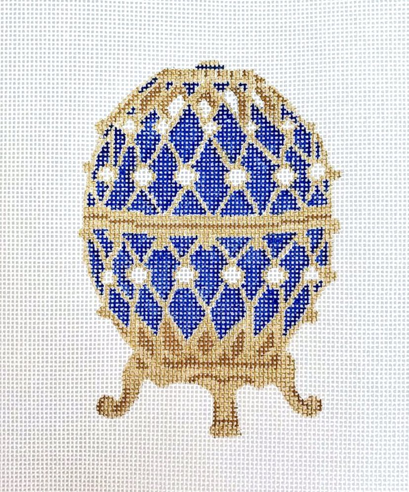 Blue Faberge Egg with the stand