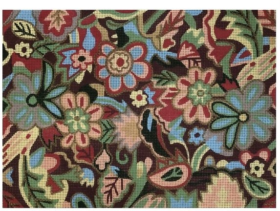 Blue and Coral Floral Tapestry Bag