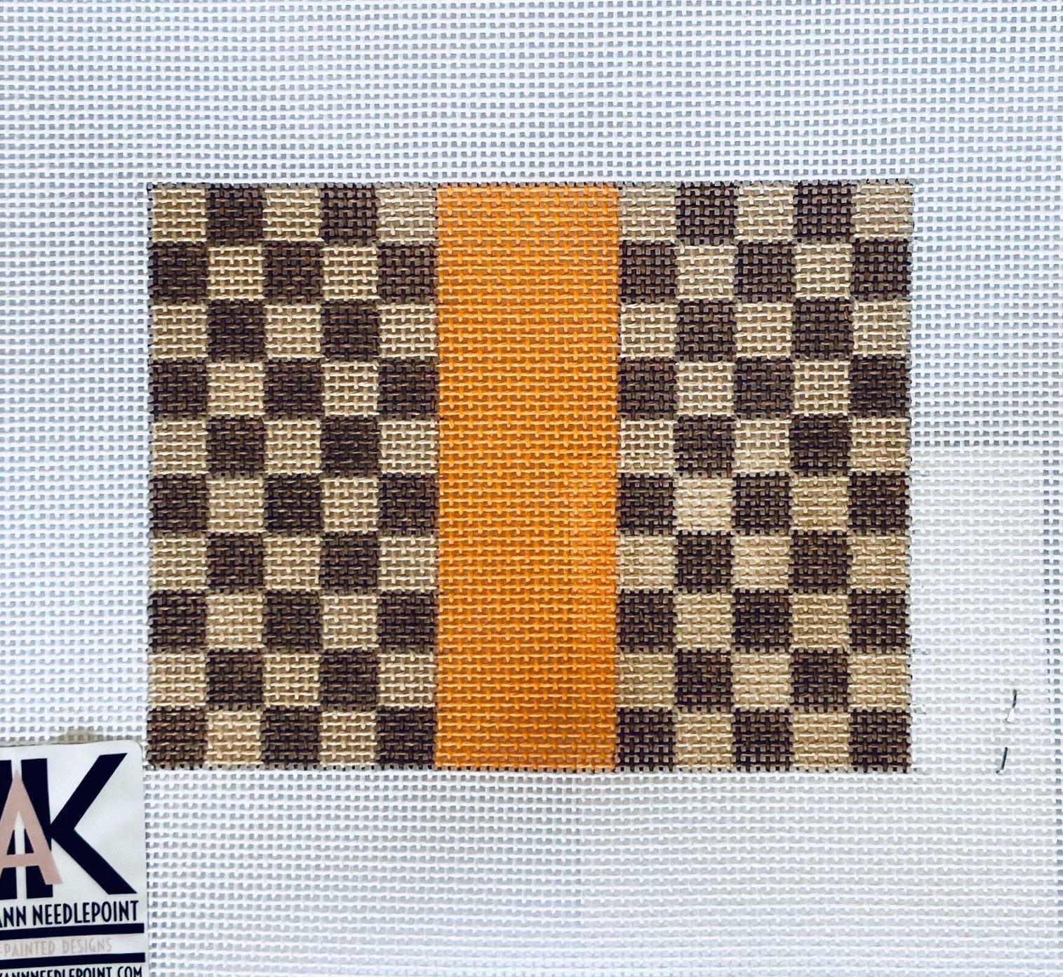 Louis Brown Squares w/orange card holder