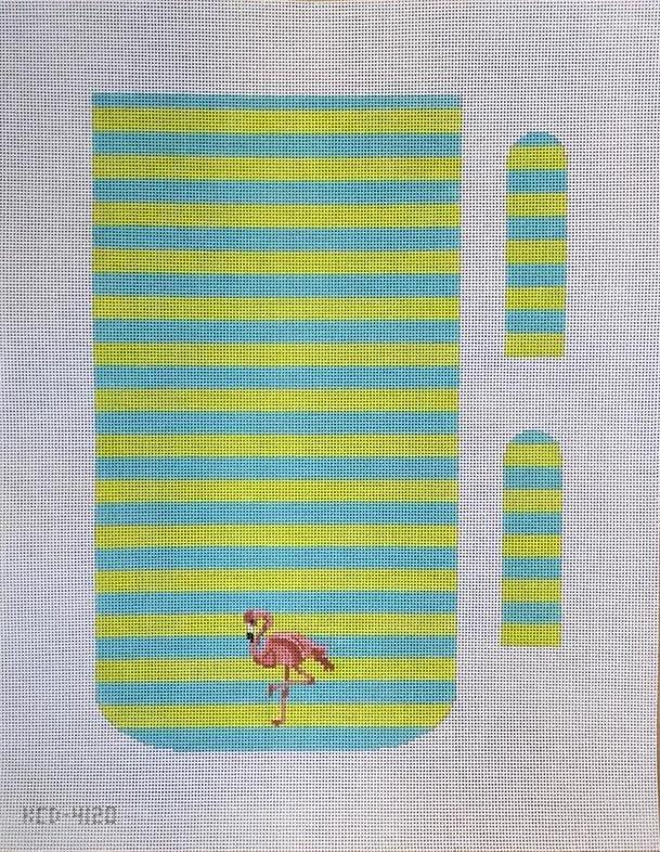 Flamingo on Stripes Purse Canvas