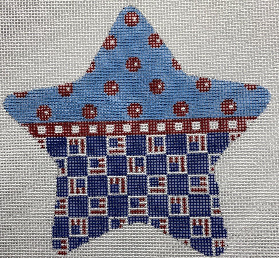 Patriotic Star - Tossed Flags