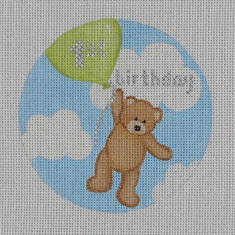 1st Birthday Green Balloon
