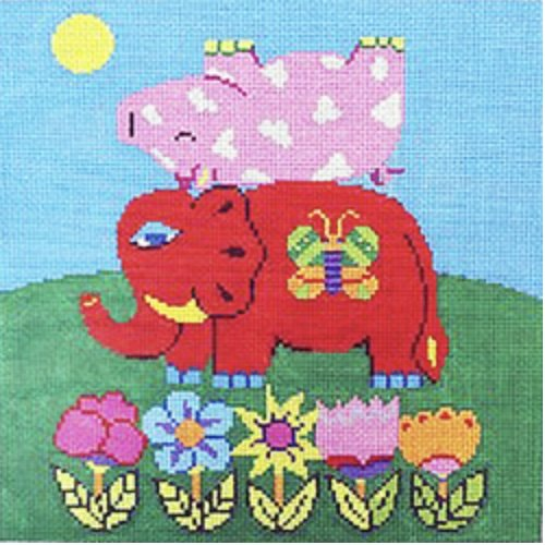Colorful Elephant and Pig