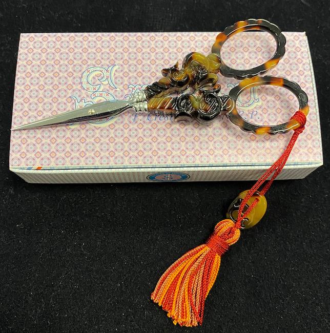 Sajou - Tortoiseshell Embroidery Scissors S Motif