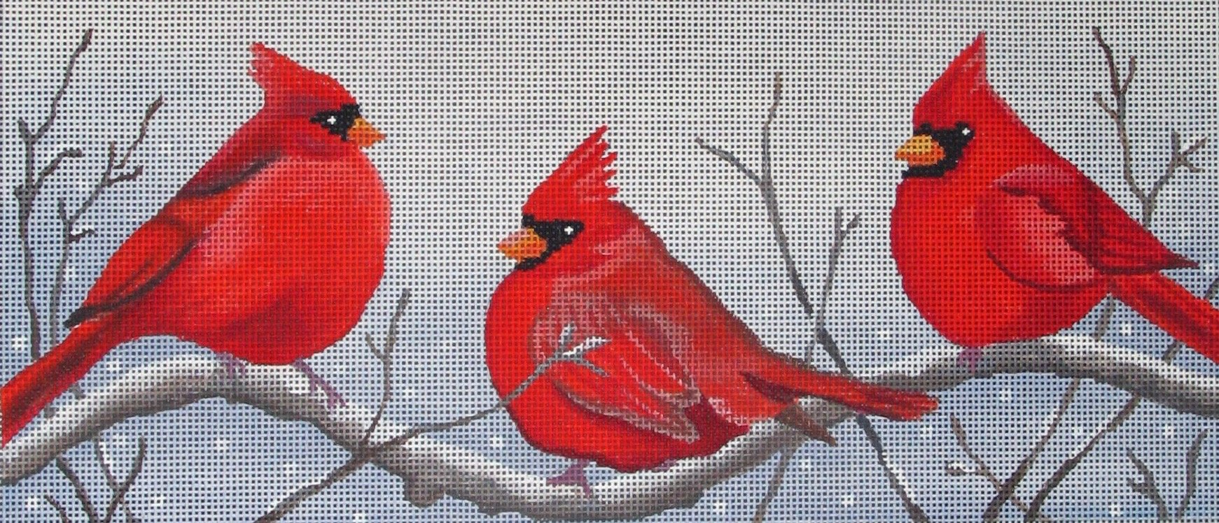 3 CARDINALS IN THE SNOW