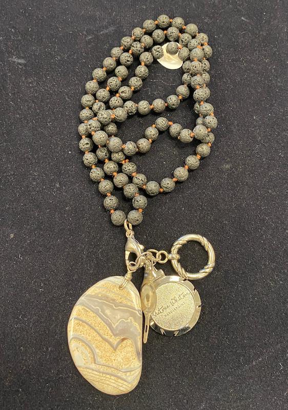 Chatelaine - Cream Natural Stone/Volcanic Rock Beads