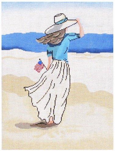 Lady on beach with Flag
