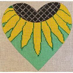 heart, sunflower on green