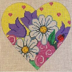 heart, daisies, tulips on yellow