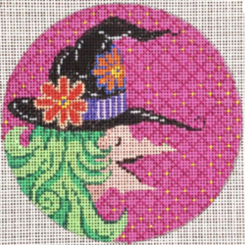round orn. Witch on pink