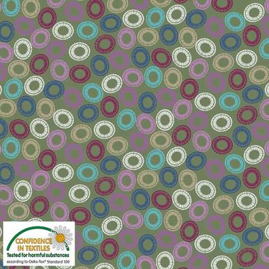 Blank S-Quilters Multi Circles Green 4518-058