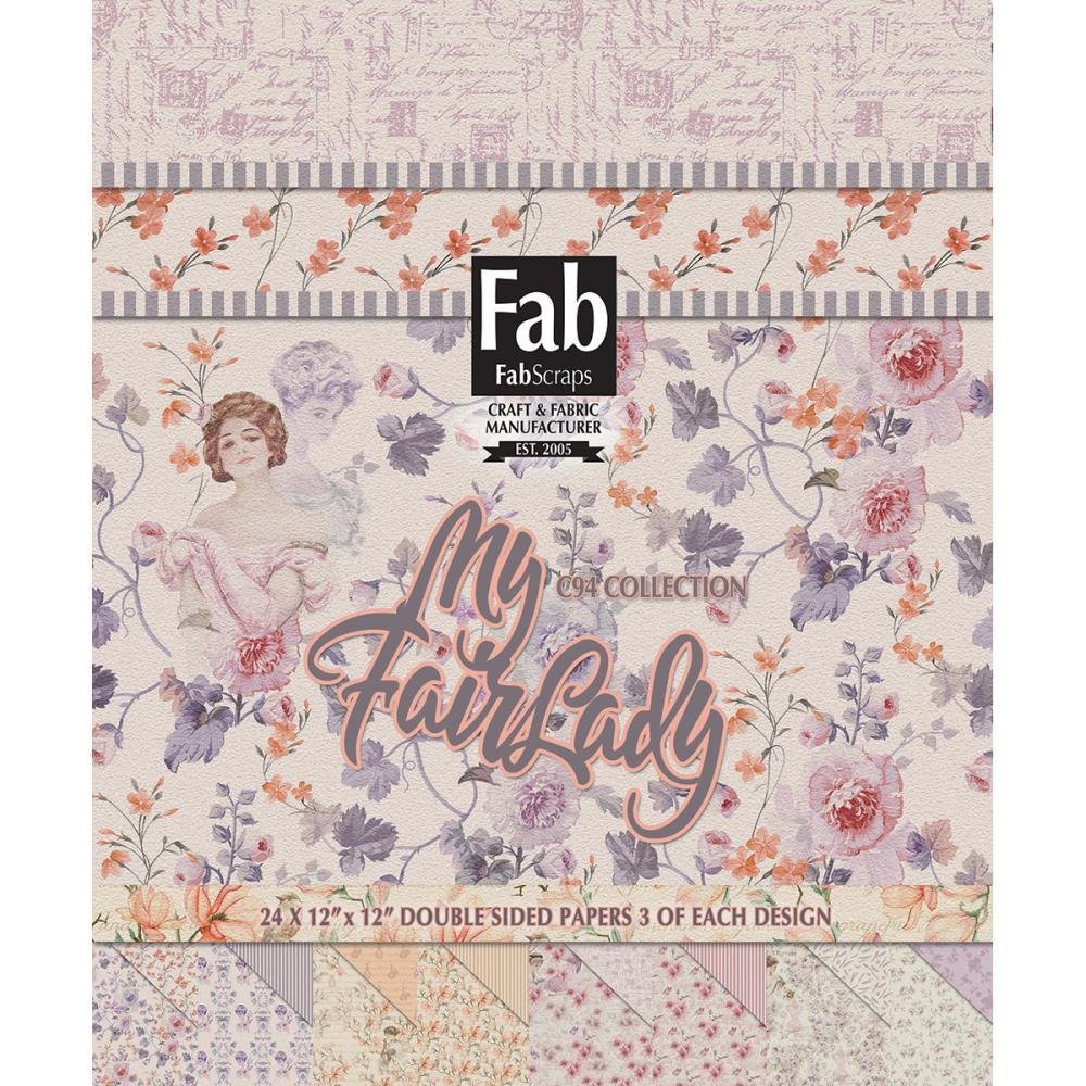 FabScraps Double-Sided Cardstock Pad 12'x12'  - My Fair Lady