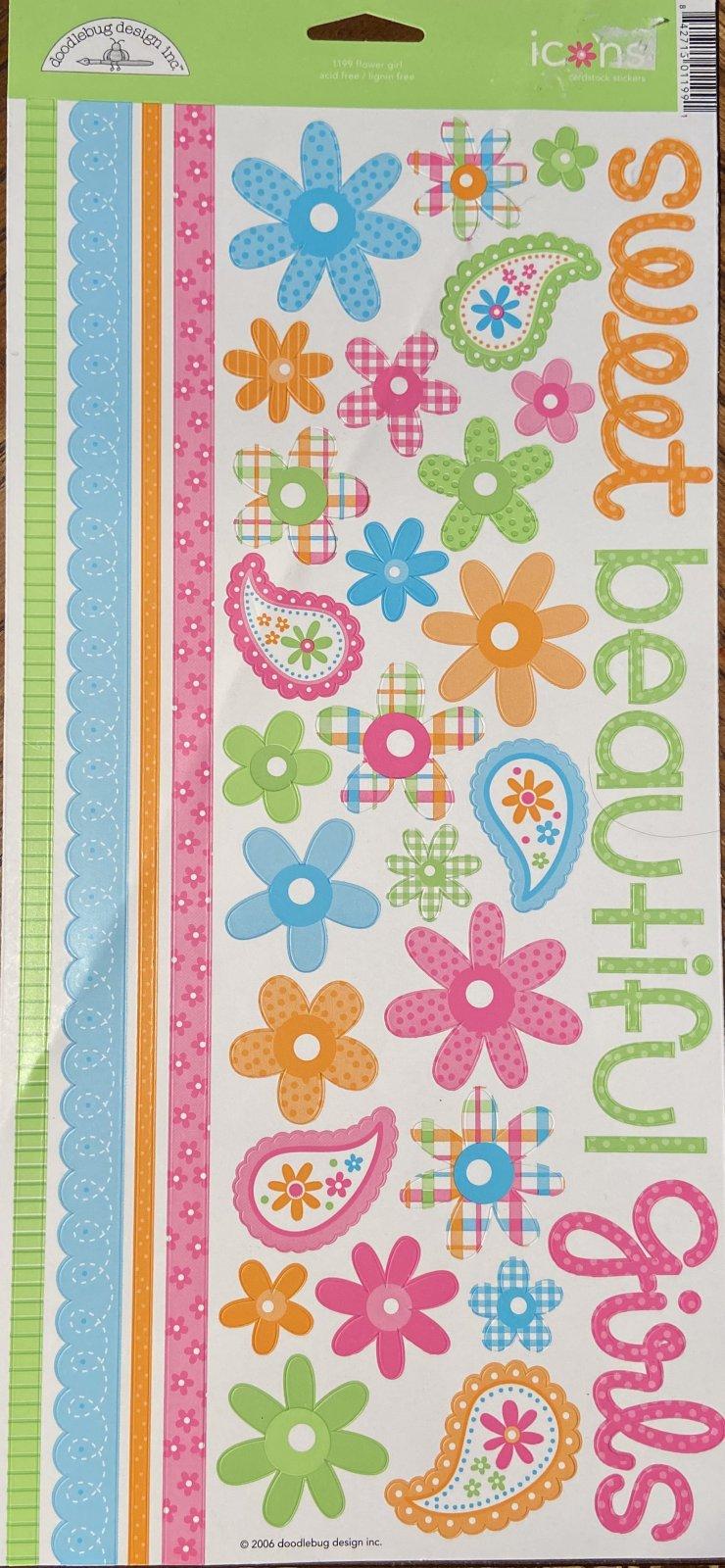 Doodlebug Designs Cardstock Stickers - Flower Girl