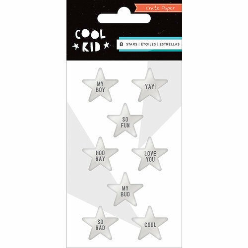 Crate Paper Embellishments - Silver Stars Cool Kid 8/Pkg
