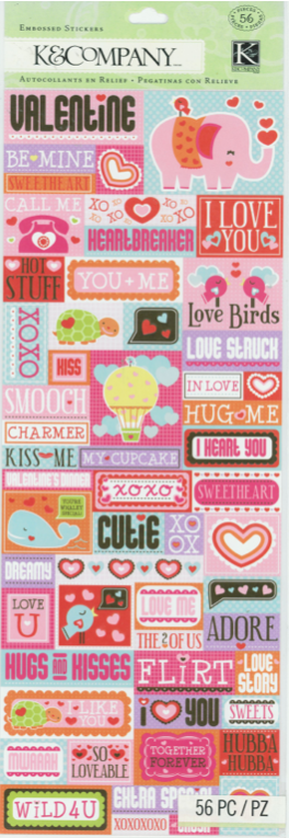 K & Company Embossed Stickers - Smooch Words