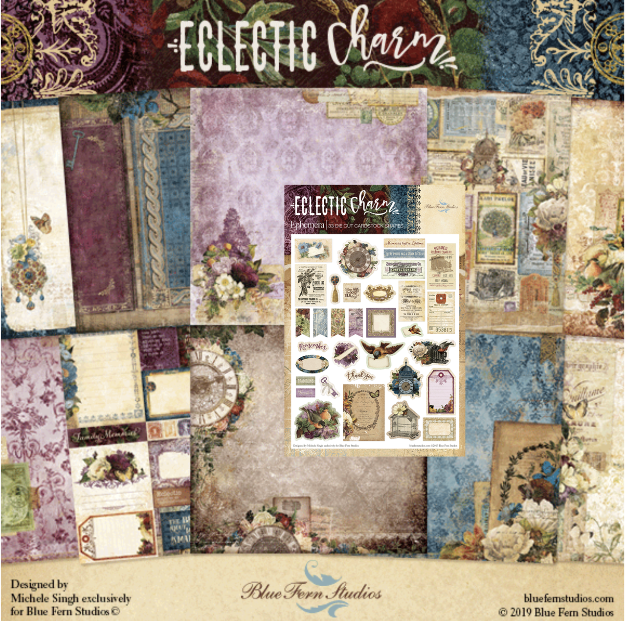Blue Fern Studios - Eclectic Collection 20 Papers & Embellishments