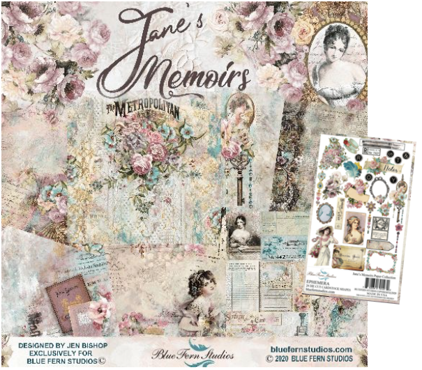 Blue Fern Studios - Jane's Memoirs Collection 20 Papers & Embellishments with Free Eclectic paper bonus.