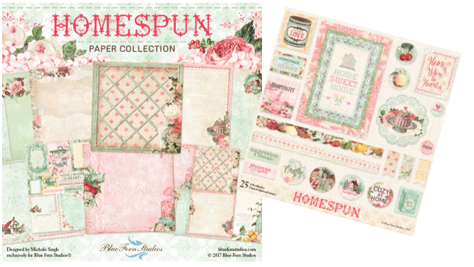 Blue Fern Studios - Homespun Collection 10 Papers with Embellishments and Free Eclectic paper bonus.