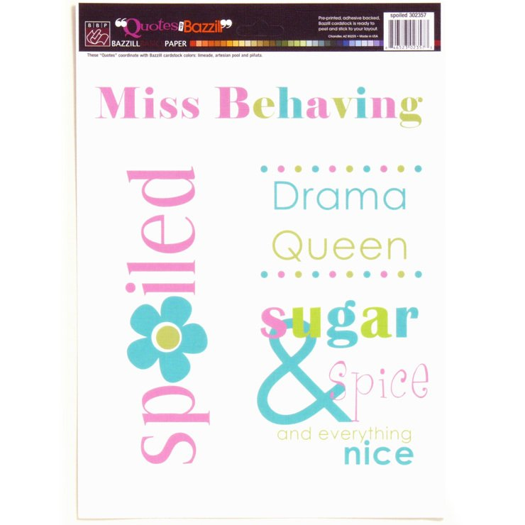 Bazzill Cardstock 8.5'x11' Stickers - Spoiled