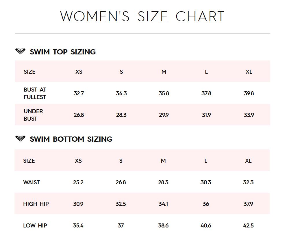 Roxy swimwear size chart