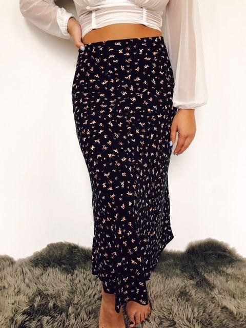 Billabong Floral Printed Black Maxi Skirt