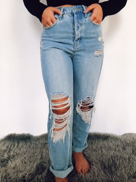 Signature 8 Distressed High Waisted Mom Jean