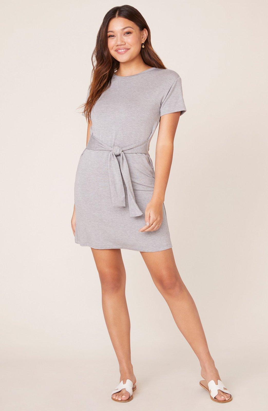 BB Dakota Sunrise Tie Front Grey Dress