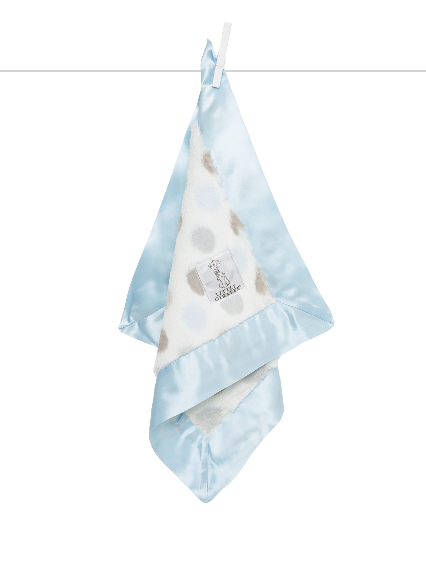 Little Giraffe Blue Luxe Dot Blanky