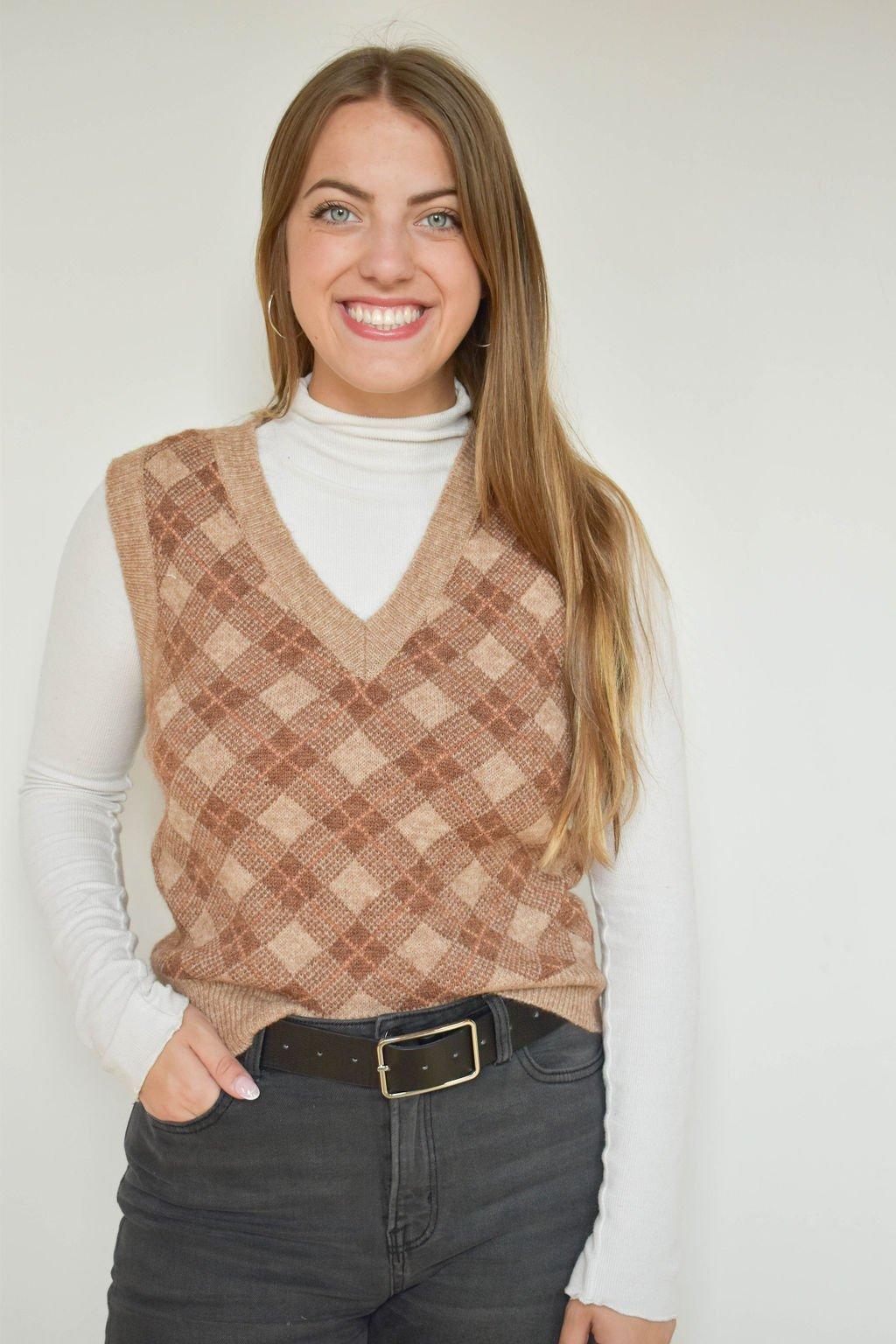 Be Cool Plaid Sweater Vest