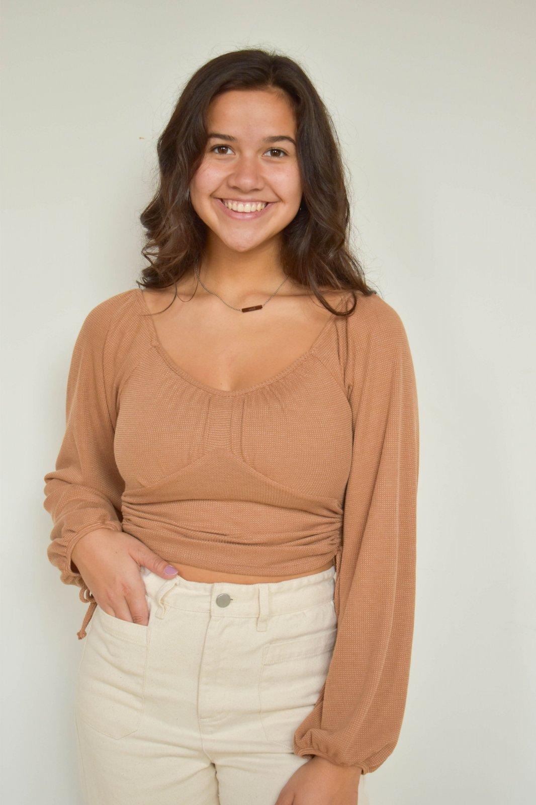 Le Lis Long Sleeve Ruched Crop Top