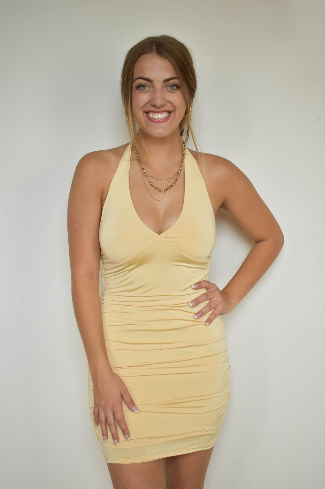 Emory Park Butter Yellow Halter Dress