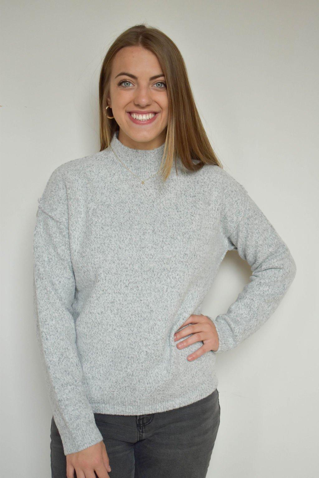 Mystree Lt Grey High Neck Sweater
