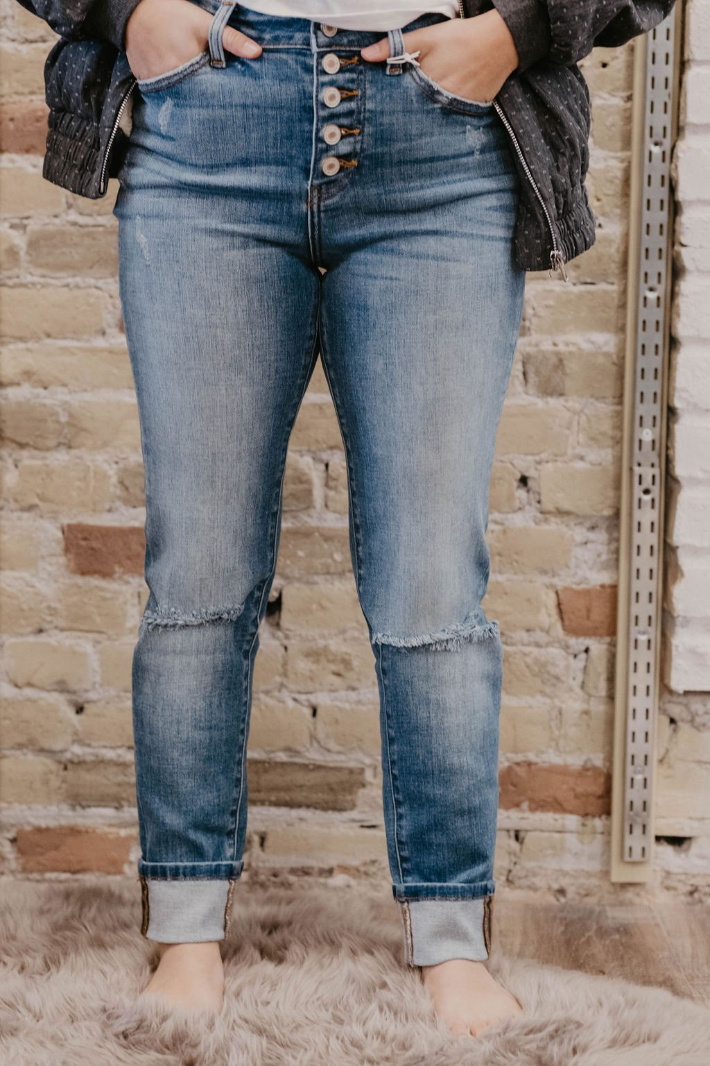 KanCan Button Fly Straight Leg Jeans