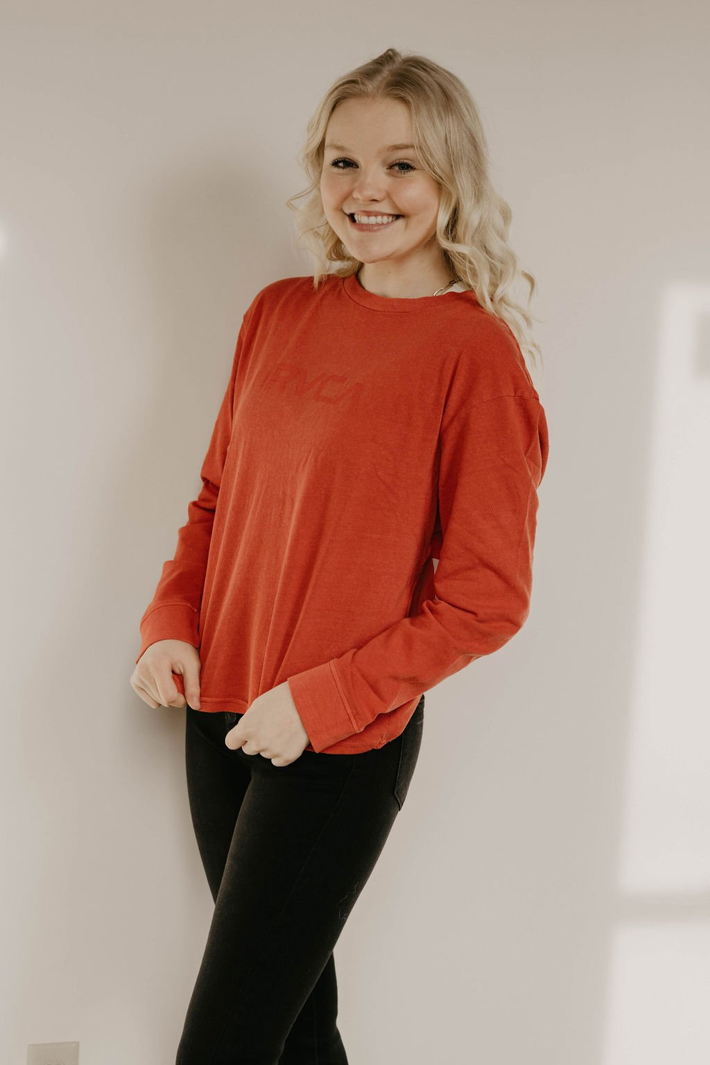 RVCA Paprika Red Long Sleeve Top