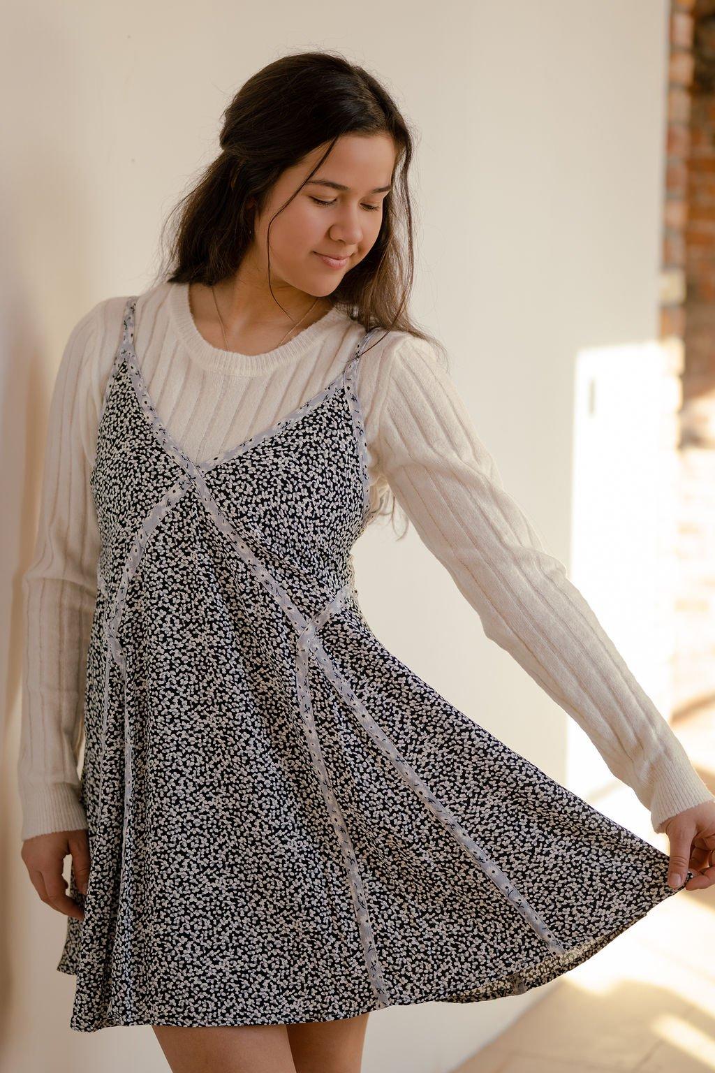 Millibon Black/Blue Ditsy Floral Dress