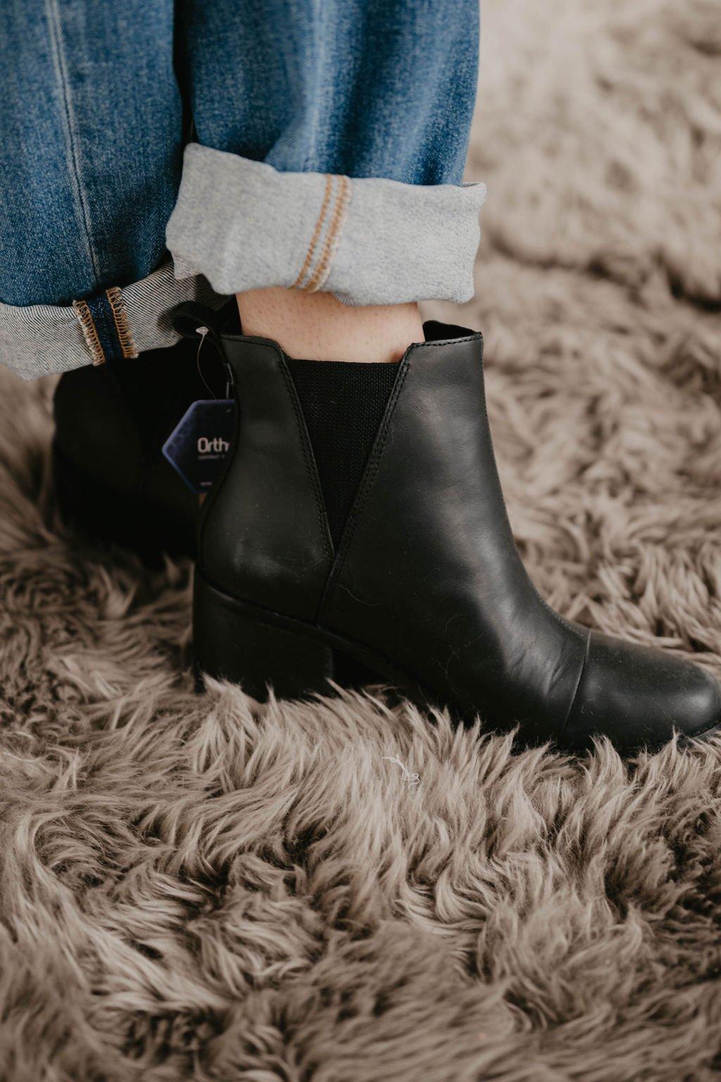 Toms Esme Black Leather boot