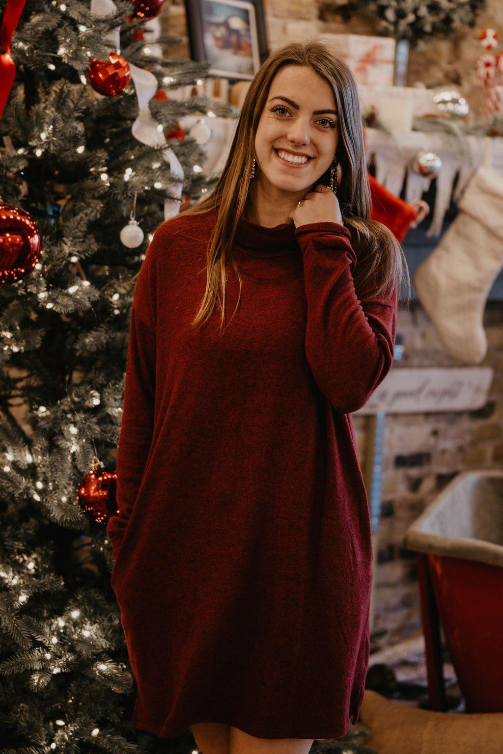 Cherish Heathered Red Sweater Dress