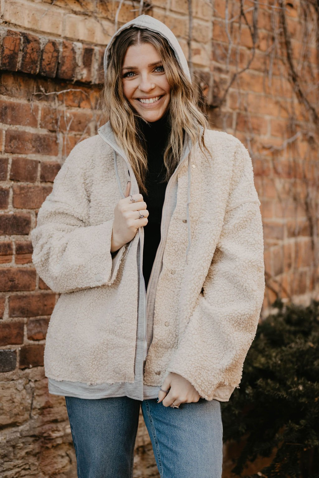 Fore Shearling Oversized Fuzzy Jacket