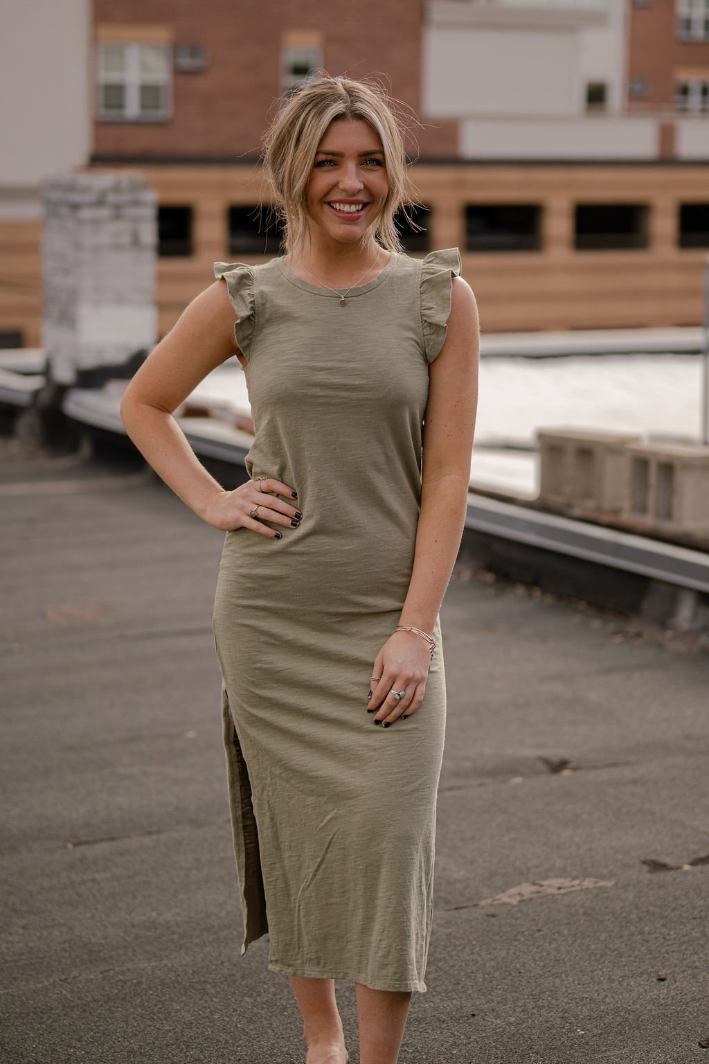 Z Supply Meadow Green Blakely Slub Ruffle Dress